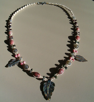Abalone, Rhodonite, Garnet, Labradorite, Russian Serpentine Necklace