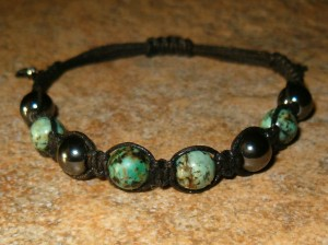 African Turquoise & Hematite Healing Energy Bracelet
