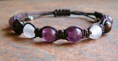 Amethyst, Rose Quartz & Garnet Healing Energy Bracelet