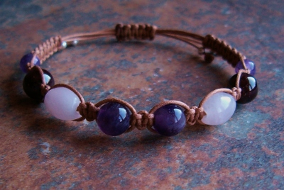 Amethyst, Garnet, Rose Quartz Healing Energy Bracelet