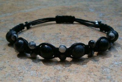 Black Jasper & Black Silk Stone Healing Energy Bracelet