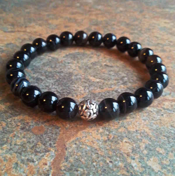Black Sardonyx Healing Energy Bracelet (stretch)
