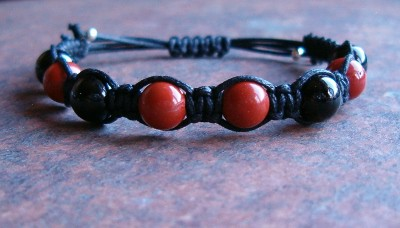 Black Tourmaline & Red Jasper Healing Energy Bracelet