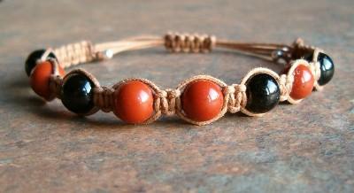 Black Tourmaline & Red Jasper Healing Energy Bracelet