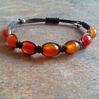 Carnelian Barrel Healing Energy Bracelet
