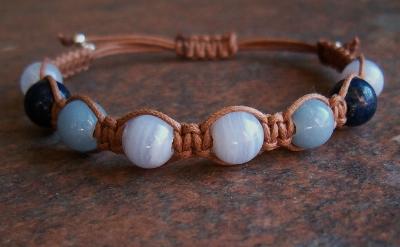 Blue Chalcedony, Lapis & Angelite Healing Energy Bracelet
