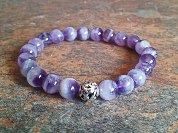 Chevron Amethyst Healing Energy Bracelet (stretch)