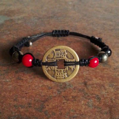 Coin, Red Coral, Pyrite & Black Tourmaline Bracelet