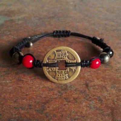 Coin, Red Coral, Pyrite & Black Tourmaline Bracelet
