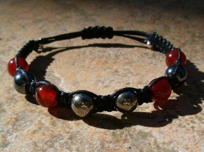 Carnelian, Hematite & Pyrite Healing Energy Bracelet