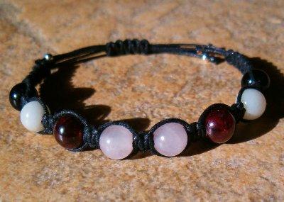 Garnet, Rose Quartz, Moonstone & Obsidian Healing Bracelet