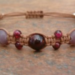 Garnet, Rose Quartz & Lilac Stone Healing Energy Bracelet