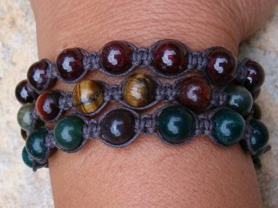 Garnet, Tiger Eye, Bloodstone Trio