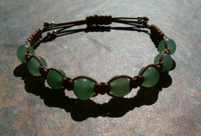 Green Aventurine Healing Energy Bracelet - medium color cord