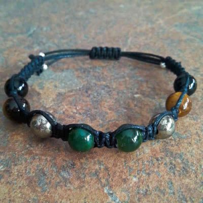 Jade, Pyrite, Tiger Eye, Black Onyx Healing Energy Bracelet