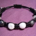 Moonstone, Labradorite & Obsidian Bracelet