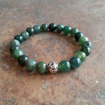 abundance influence buddha agate products gemstones strengthening bracelet with moss silver