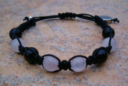 Black Obsidian & Rose Quartz Healing Energy Bracelet