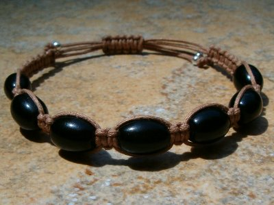 Black Onyx Healing Energy Bracelet - Med Brown Cord
