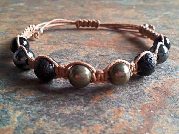 Pyrite, Lava, Hematite & Tourmaline Healing Energy Bracelet