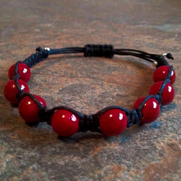 Red Fossil Healing Energy Bracelet