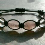 Rose & Clear Quartz Crystal Healing Energy Bracelet