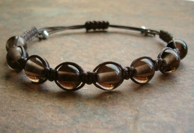 Smoky Quartz Healing Energy Bracelet - dark cord