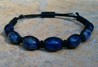 Sodalite Healing Energy Bracelet - black cord