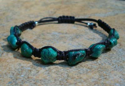 Turquoise Healing Energy Bracelet - Dark Brown